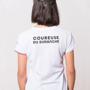 t-shirt CDD femme blanc humoristique La coureuse du dimanche